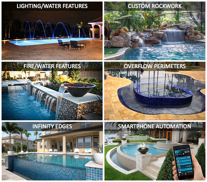 Custom swimming pool features; Lighting, rockwork, fire pits, overflow perimeters, infinity edges, smartphone automation & more